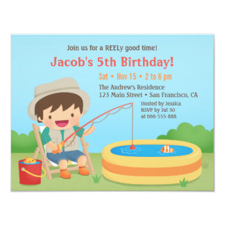 Cute Boy Loves Fishing Birthday Party Invitations