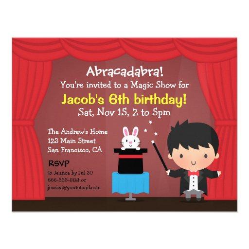 Cute Boy Magician Magic Birthday Party Invitations