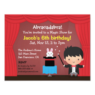 Cute Boy Magician Magic Birthday Party Invitations