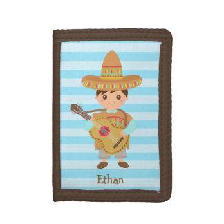 Cute boy Mexican Sombrero Hat Guitar Fiesta Trifold Wallet