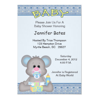 Cute Boy Mouse Baby Shower Invitation