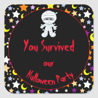 Cute Boy Mummy Halloween Costume Party Square Sticker