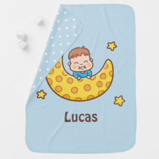 Cute Boy on the Moon Personalized Baby Blanket