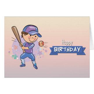 Cute Boy Playing Baseball Birthday Card