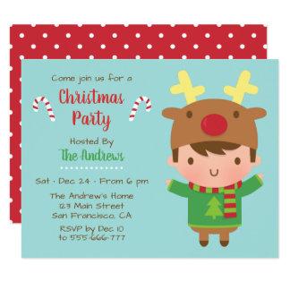Cute Boy Reindeer Hat Christmas Party Invitations