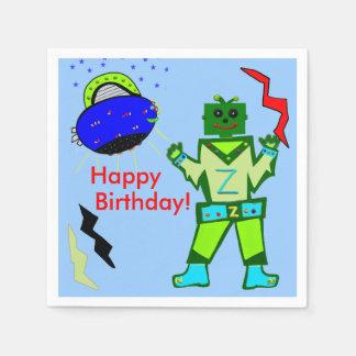 Cute Boy Robot Blue Spaceship Birthday Paper Napkins