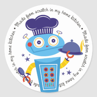 Cute boy robot chef food service catering cooking round sticker