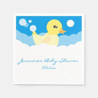 Cute Boy Rubber Ducky Baby Shower Disposable Serviette