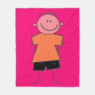 Cute Boy Stick Figure Fleece Blanket