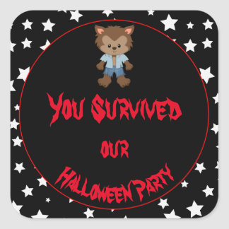 Cute Boy Werewolf Halloween Party Square Sticker