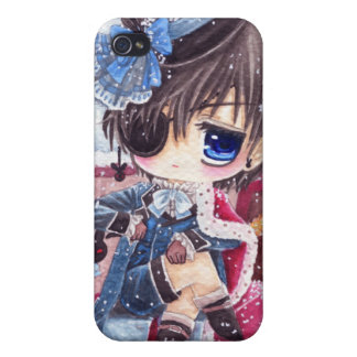 Cute boy with eye patch iPhone 4 covers