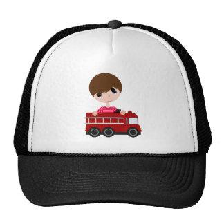 Cute, Boy with Fire Truck Cap