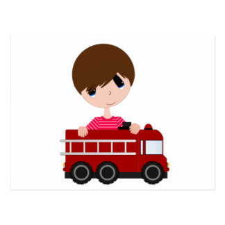 Cute, Boy with Fire Truck Postcard
