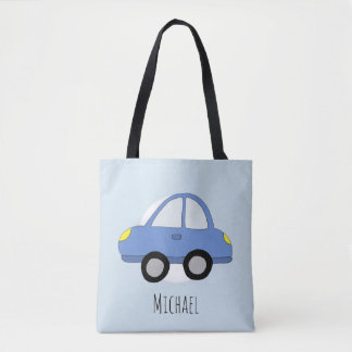 Cute Boy's Automobile Blue Car with Name Tote Bag