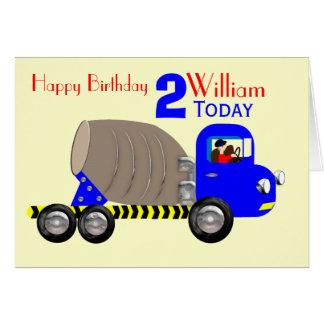 Cute Boys Cement Mixer Truck Birthday Card