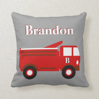 Cute Boy's Pillow, Red Firetruck on Gray, add Name Cushion