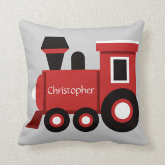 Cute Boy's Pillow, Red Train w/ Name Cushion