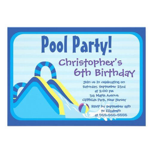 Cute Boys Pool Party Birthday Party Invitations