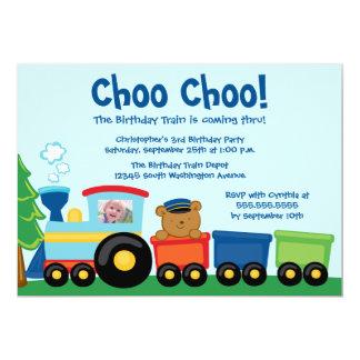 Cute boy's train birthday party photo invitation