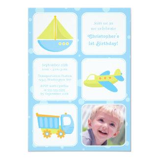 "Cute boys travel time birthday party invitation 5"" x 7"" invitation card"