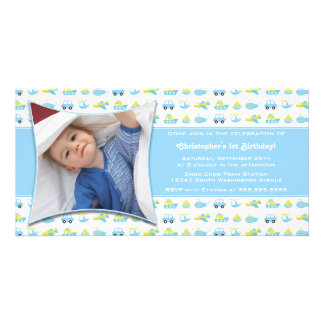 Cute boys travel time birthday party invitation personalized photo card