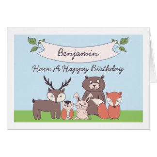 Cute Boys Woodland Animals Birthday Card