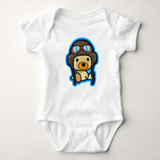 Cute brave teddy bear pilot baby baby bodysuit