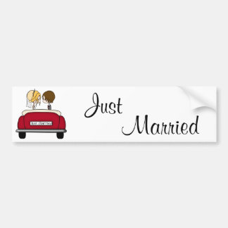 Cute Bride and Groom Just Married Bumper Sticker