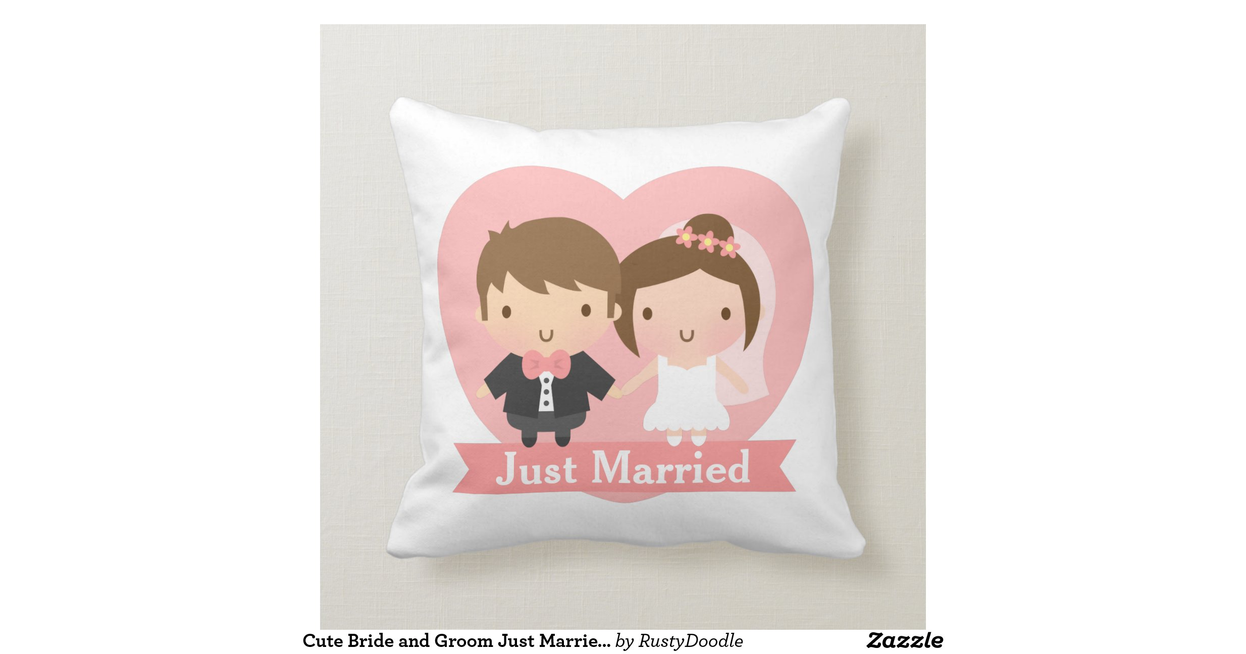 Cute Bride and Groom Just Married Couple Bedroom Throw Pillows Zazzle