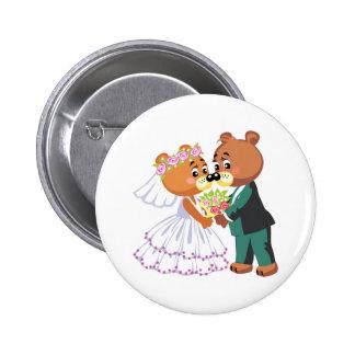 cute bride and groom teddy bears design wedding 6 cm round badge