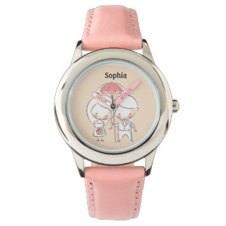 Cute Bride and Groom w/ Umbrella Personalized Watch