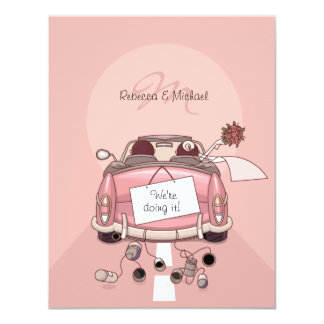 Cute Bride & Groom Pink Getaway Car 11 Cm X 14 Cm Invitation Card