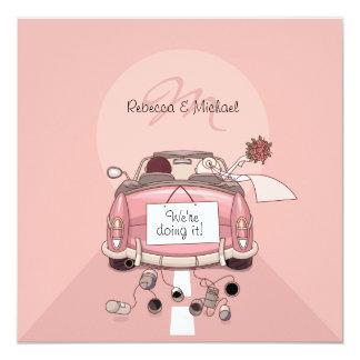 "Cute Bride & Groom Pink Getaway Car Invitations 5.25"" Square Invitation Card"