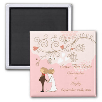 Cute Bride & Groom Save The Date Wedding Square Magnet