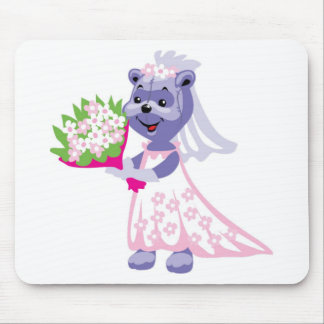 Cute Bride Teddy Bear Mousepad