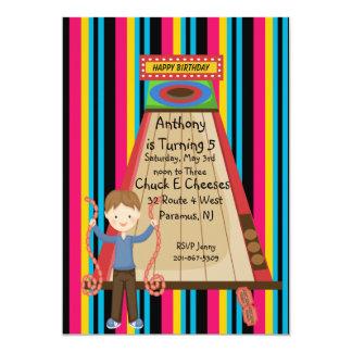Cute, Bright, and Striped Boys Arcade Invitation