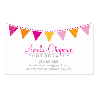 CUTE BRIGHT BUNTING bold party pink orange yellow Pack Of Standard Business Cards