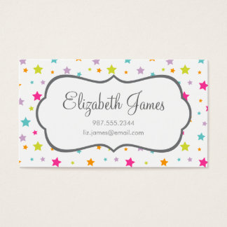 Cute Bright Colorful Stars Business Card