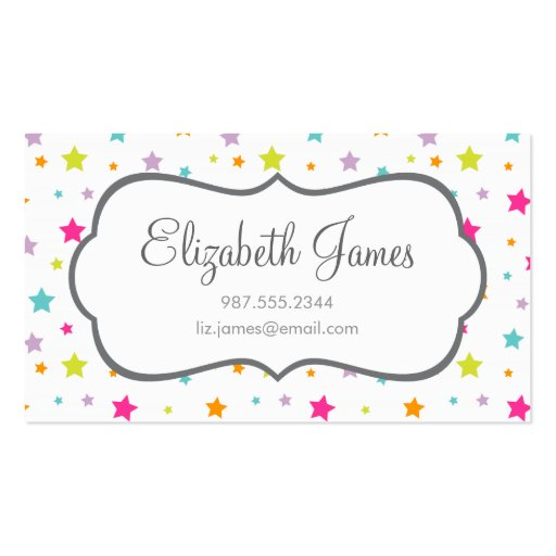 Cute Bright Colorful Stars Business Card Template