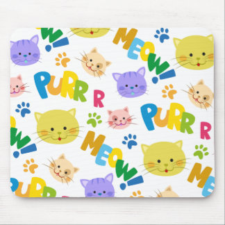 Cute bright colors cat mouse pad