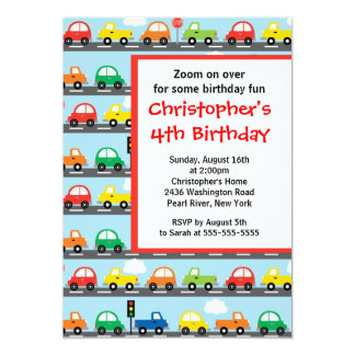 Cute Bright & Colourful Cars Birthday Party Card
