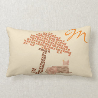 Cute Bright Cozy Monogrammed Cat Lumbar Pillow