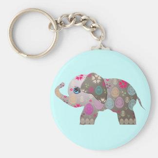 Cute bright elephant basic round button key ring