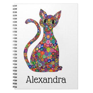 Cute Bright Geometric Pattern Cat Monogram Name Notebook
