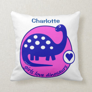 CUTE BRIGHT GIRL PINK DINOSAUR | CUSTOMIZABLE DINO CUSHION
