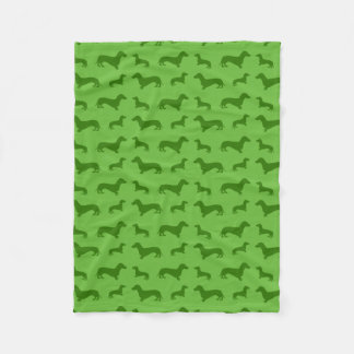 Cute bright green dachshund pattern fleece blanket