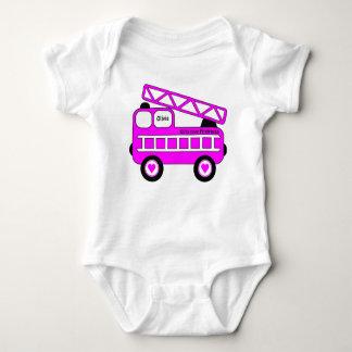 Cute Bright Pink Girls Firetruck Design Baby Bodysuit