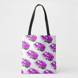 Cute Bright Pink Girls Repeat Firetruck Design Tote Bag
