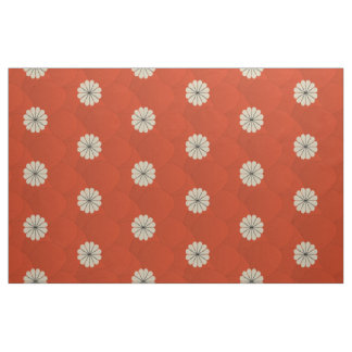 Cute Bright Red Beige Floral Pattern Fabric