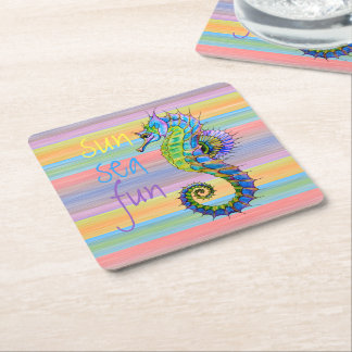 Cute Bright Sunset Colors Artsy Seahorse Square Paper Coaster